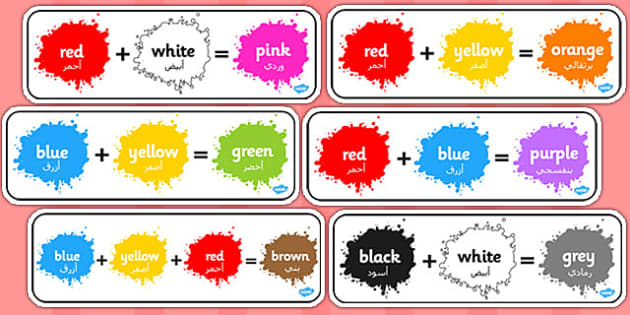 Colour Mixing Pack Arabic Translation - art, paint, primary, secondary, shades, early years, ks1, ks2, mix, stir