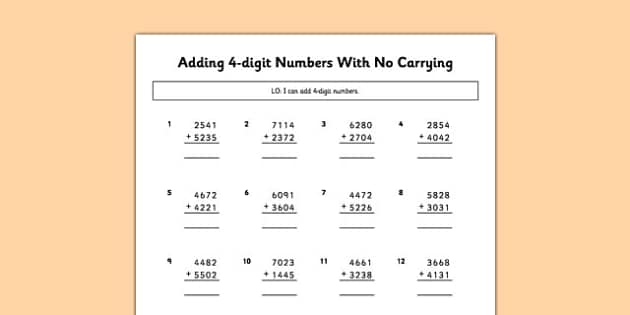 Adding 4 Digit Numbers No Carrying - adding, 4 digit, numbers, no carrying, maths, numeracy