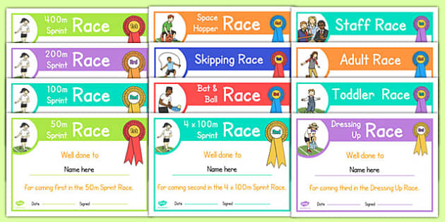 Editable Sports Day Race Certificates Pack - sports day, certificates