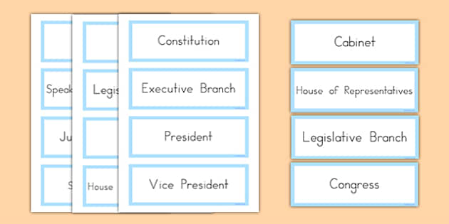 United States Constitutional Government Word Cards - US Resources, Government, Branches, United States, President, Congress, Supreme Court, House of Representatives, Senate, Constitution