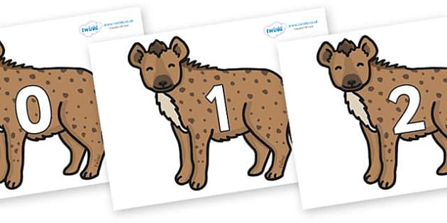 Numbers 0-50 on Hyenas - 0-50, foundation stage numeracy, Number recognition, Number flashcards, counting, number frieze, Display numbers, number posters
