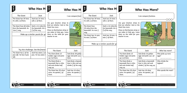 Find and Compare Fractions 1/2, 1/4, 1/3 or 3/4 Differentiated Activity Sheets