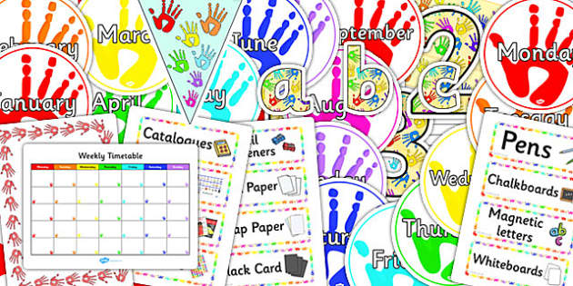Handprints Co-ordinating Classroom Display Pack - display, pack