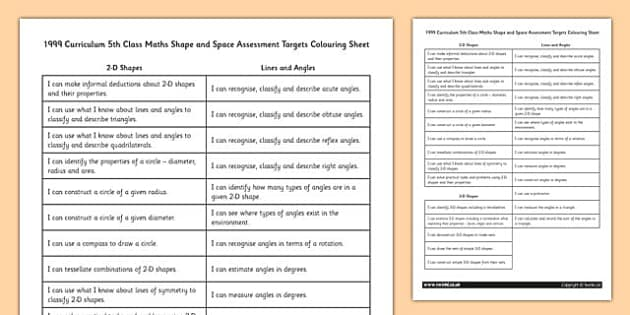 1999 Curriculum 5th Class Maths Shape and Space Assessment Targets Colouring - roi, gaeilge, maths, curriculum, 1999