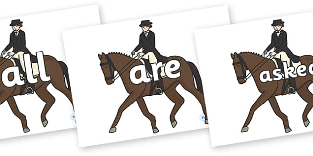 Tricky Words on Equestrian (Horses) - Tricky words, DfES Letters and Sounds, Letters and sounds, display, words