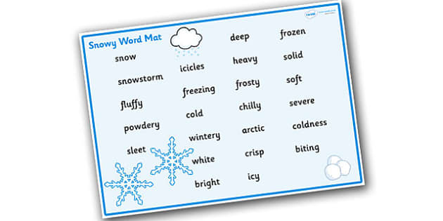 Weather and Seasons Snowy Word Mat - weather and seasons, weather and seasons word mat, snow word mat, weather word mat, snowy weather word mat, snow