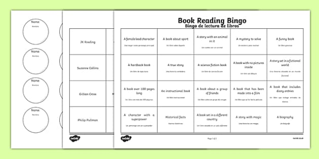 Book Reading Bingo Activity Sheets Spanish Translation - spanish, book, reading, read, bingo, activity, worksheet