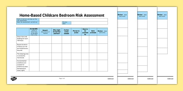 Home-Based Childcare Bedroom Risk Assessment