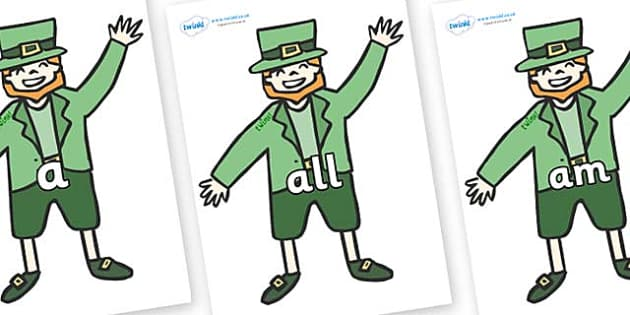 Foundation Stage 2 Keywords on Leprechauns - FS2, CLL, keywords, Communication language and literacy,  Display, Key words, high frequency words, foundation stage literacy, DfES Letters and Sounds, Letters and Sounds, spelling