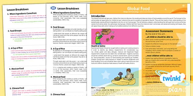 PlanIt - DT UKS2 - Global Food Planning Overview CfE - planit, design, technology, overview, cfe