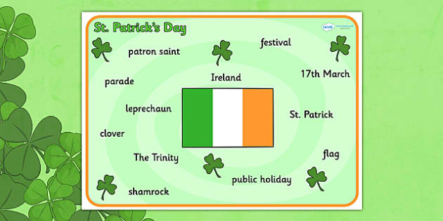 St Patrick's Day Word Mat - St Patricks Day, word mat, writing aid, Ireland, Irish, St Patrick, patron saint, leprechaun, 17 march