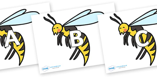 A-Z Alphabet on Wasps - A-Z, A4, display, Alphabet frieze, Display letters, Letter posters, A-Z letters, Alphabet flashcards