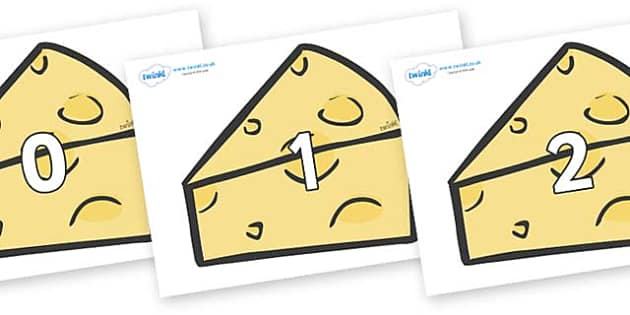 Numbers 0-31 on Cheese - 0-31, foundation stage numeracy, Number recognition, Number flashcards, counting, number frieze, Display numbers, number posters