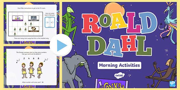 Roald Dahl Themed Reception Morning Activities Incidental Welsh PowerPoint - Roald Dahl, Roald Dahl Day, Numeracy, Morning Activities, Wales