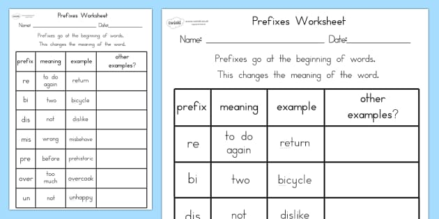 Prefixes Worksheet - prefixes, literacy, punctuation, worksheet