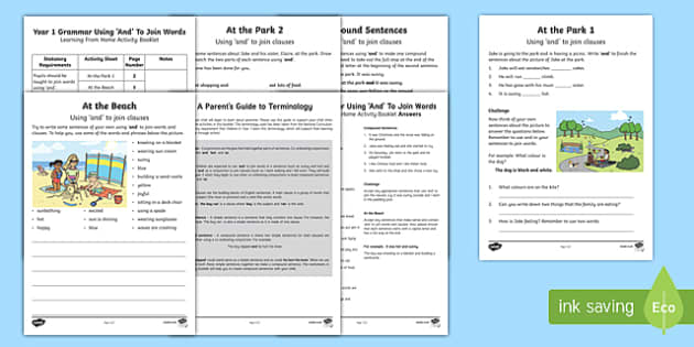 Year 1 Grammar: Using 'And' Activity Booklet