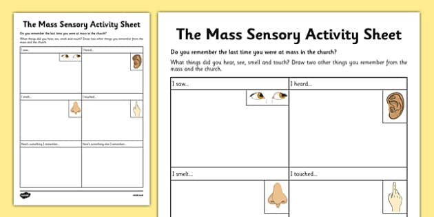 The Mass Sensory Activity Sheet - Mass, Roman Catholic, senses, reflection, drawing, sacraments, worksheet
