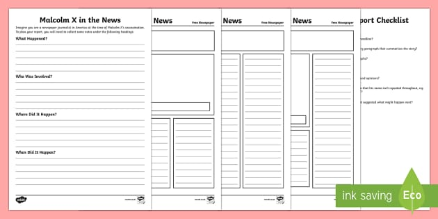 Malcolm X Newspaper Report Writing Activity