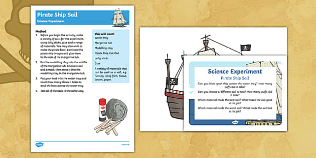 EYFS Pirate Ship Sail Science Experiment and Prompt Card Pack