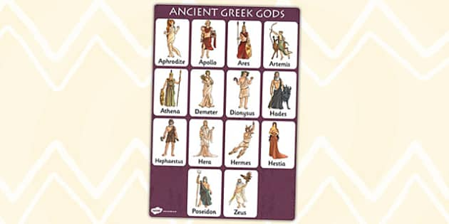 Ancient Greek Gods Vocabulary Poster - vocab, visual aid, greece