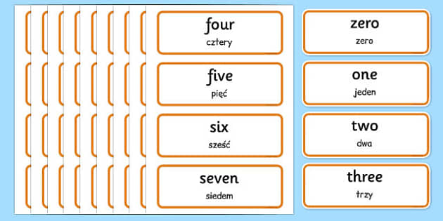 0-100 Number Words Word Cards Polish Translation - polish, 0-100, number, words, word, cards