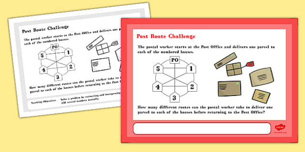 Post Route Maths Challenge A4 Display Posters - challenge, poster