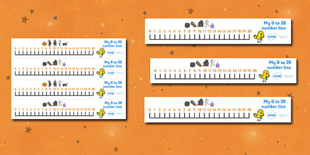 Number Line 0-20 (Halloween) - Number Lines 0-20, Counting, 0, 20, Numberline, Number line, Counting on, Counting back, Foundation Numeracy, Halloween, pumpkin , witch, bat, scary, black cat, mummy, grave stone, cauldron, broomstick, haunted house, p