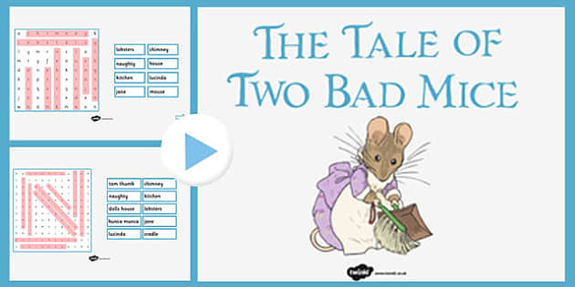The Tale of Two Bad Mice Interactive Wordsearch - two bad mice