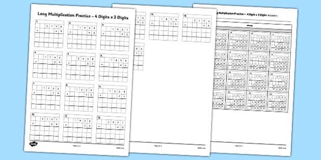 Long Multiplication Practice 4 Digits x 2 Digits - long multiplication, practice, 4 digits, 2 digits