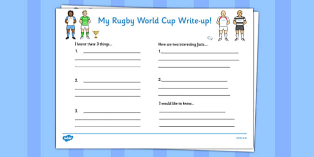 Rugby World Cup Write Up Worksheets - rugby, world cup, write up