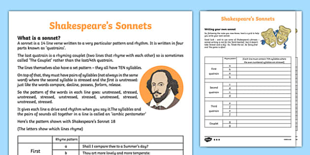 How to Write a Sonnet like Shakespeare Differentiated Activity Sheet Pack, worksheet