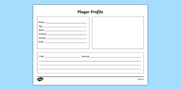GAA Player Profile English - ireland, gaa, player, profile, factfile, worksheet, favourite, display, english