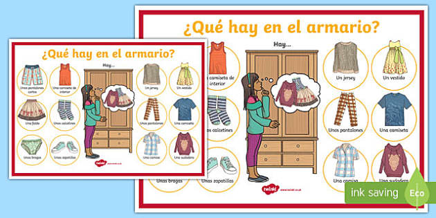 Clothes Display Poster Spanish