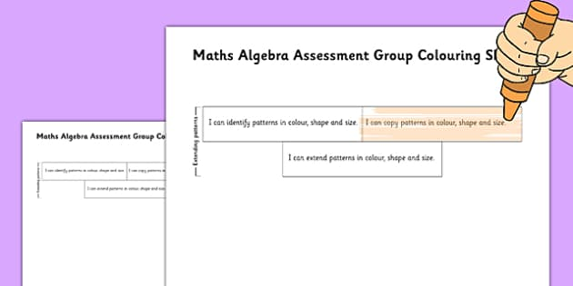 1999 Curriculum Junior Infants Maths Algebra Assessment Group Colouring Sheets - roi, irish, gaeilge, assessment, checklist, maths, junior infants, algebra
