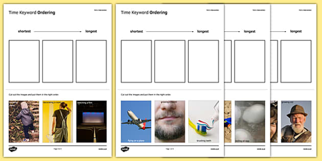 Maths Intervention Time Keyword Ordering Activity Sheet Pack - SEN, special needs, intervention, maths, measure, time, worksheet