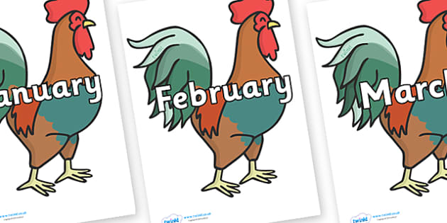 Months of the Year on Cockerels - Months of the Year, Months poster, Months display, display, poster, frieze, Months, month, January, February, March, April, May, June, July, August, September