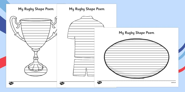 Rugby Shape Poetry - rugby, shape poetry, shape, poetry, poem