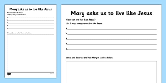 Mary Asks Us to Live like Jesus Activity Sheet Senior - Mary, Our Lady, May, Mary in May, hail mary, religion, may altar, prayer, activity sheet, sacred space, worksheet