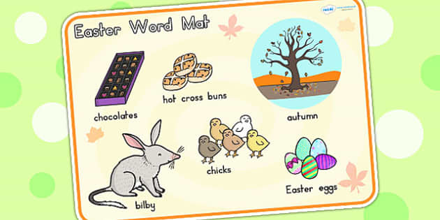 Easter Word Mat - easter, religion, RE, word mat, keywords, egg