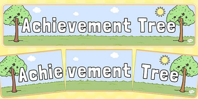 Achievement Tree Display Banner Neutral Colours - achievement, tree