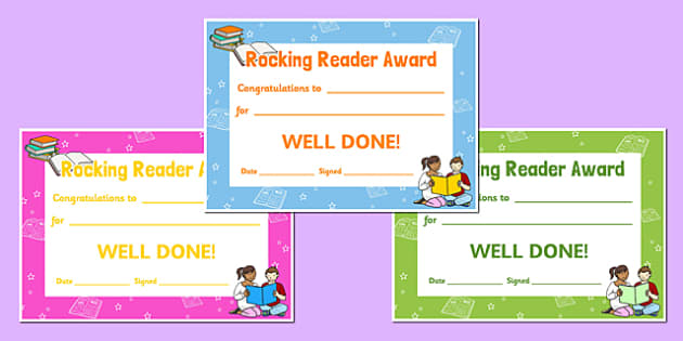 Rocking Reader Reading Award Certificates - read, certificate, reward, award