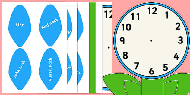 Analogue Clock Flower Labels Words German - german, time, maths, classroom, visual aid, numeracy