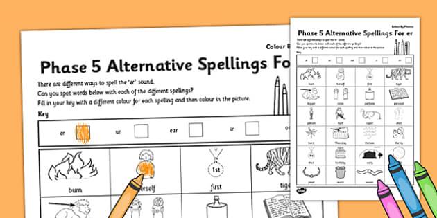 Phase 5 Colour by Spelling 'er' - phase 5, colour, spelling, er