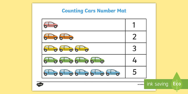 Counting Cars 1-5 Number Mat - numbers, counting, cars, transport
