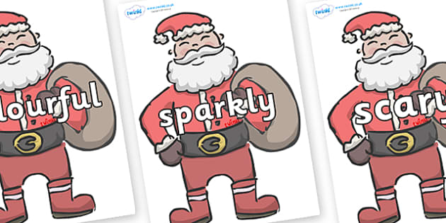 Wow Words on Santas - Wow words, adjectives, VCOP, describing, Wow, display, poster, wow display, tasty, scary, ugly, beautiful, colourful sharp, bouncy