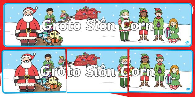 Baner Groto Siôn Corn Chwarae Rôl - nadolig, groto, sion corn, baner, teitl, Welsh
