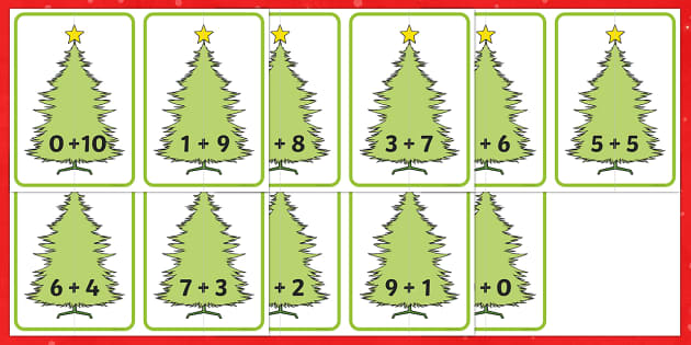 Christmas Tree Number Bonds to 10