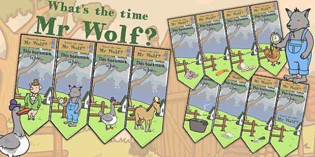 Editable Bookmarks to Support Teaching on What's The Time, Mr Wolf? - mr wolf, time, book