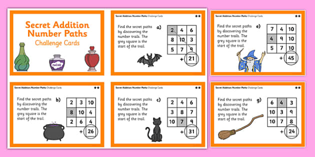 Secret Addition Number Paths Challenge Cards Magic Theme - add, problem, solve, 2-step, mental maths, number facts, calculations