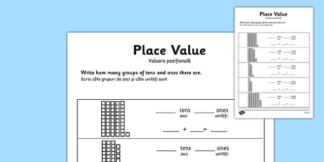 Place Value Worksheet Romanian Translation - romanian, place value, number worksheet, ks2 numeracy worksheets, tens and units, tens and units worksheet, ks2 numeracy, place values